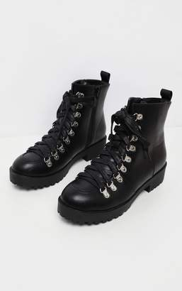 PrettyLittleThing Black Cleated Flat Hiker Lace Up Ankle Boot