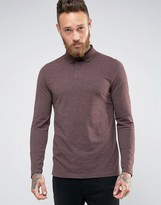 Asos Long Sleeve Polo In Pique With Logo In Oxblood Marl