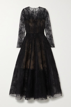 Oscar de la Renta Bead-embellished Lace And Organza Gown - Black