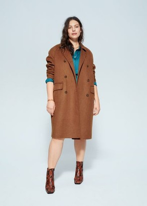 MANGO Violeta BY Double-breasted coat caramel - L - Plus sizes