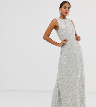 Maya Tall allover stripe embellished trophy maxi dress in silver-Grey