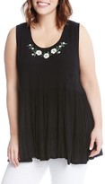 Karen Kane Plus Size Women's Embroidered Gauze Tiered Tank