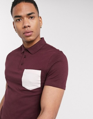 ASOS DESIGN organic skinny polo shirt with contrast pocket in burgundy