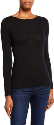 Neiman Marcus Boat-Neck Long-Sleeve Superfine Cashmere Sweater