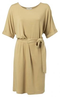 Ya-Ya Dusty Oker Jersey Pleated Midi Dress with Folded Cuffs - xs