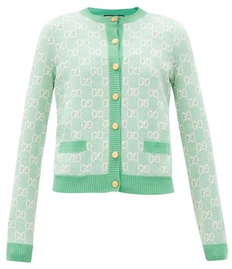 Gucci GG-jacquard Wool-blend Cardigan - Green