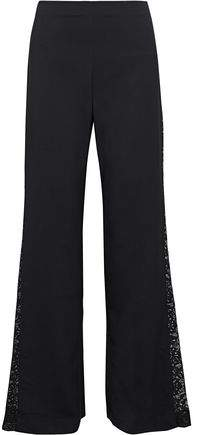 Alice + Olivia Mandy Lace-paneled Woven Flared Pants