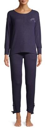 Mina Lisa Women's Weekend Fleece Lace Pajama Set, 2-Piece