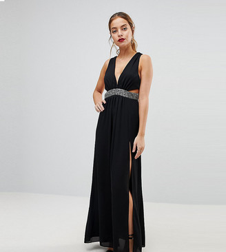 Asos Embellished Waist Strap Back Maxi Dress-Black
