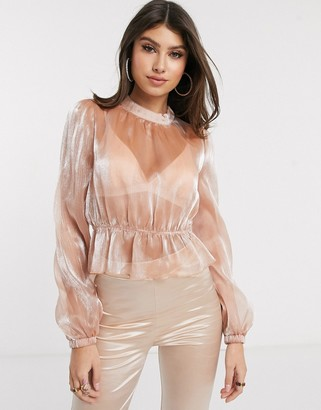 Saint Genies chiffon high neck blouse in pink shimmer