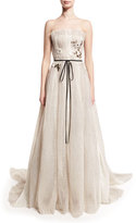 Monique Lhuillier Seersucker Organza Strapless Gown, Silk White
