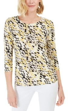 JM Collection 3/4-Sleeve Jacquard T-Shirt, Created for Macy's