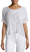Johnny Was Sheree Short-Sleeve Embroidered Top, Plus Size