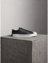 Burberry Topstitched Leather Trainers