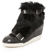 Ash Bobbi Fur Wedge Sneakers