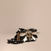 Burberry The Small Buckle Bag in Leather and Snakeskin Appliqué, Black