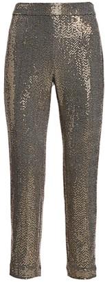 Badgley Mischka Stretch Sequin Slim Ankle Pants