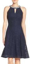 London Times Women's Beaded Lace Fit & Flare Dress