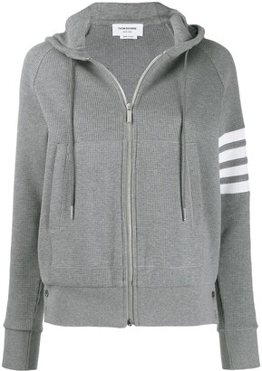 Thom Browne 4-Bar stripe zip-up hoodie