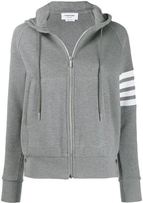 Thom Browne 4-bar striped zip-up hoodie