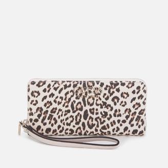 GUESS Women's Lorenna Large Zip Around Wallet - Leopard