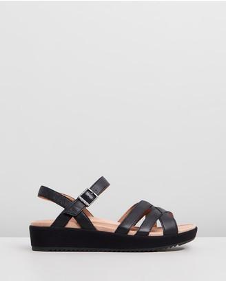 Vionic Women's Black Wedge Sandals - Violet Platform Sandals - Size One Size, 5 at The Iconic