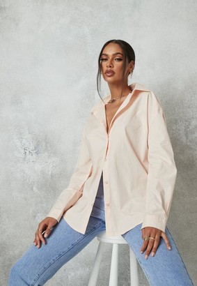 Missguided Blush Poplin Extreme Oversized Shirt