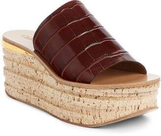 Chloé Camille Croc Embossed Cork Platform Wedge Sandal
