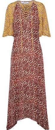 Derek Lam 10 Crosby Lace-Up Paneled Printed Silk Midi Dress
