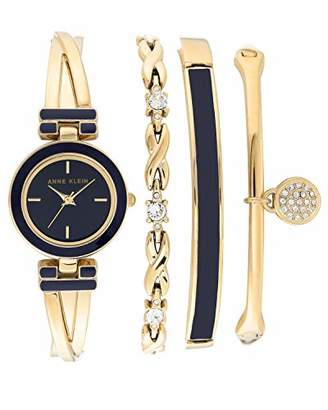 Anne Klein Women's Swarovski Crystal Accented Gold-Tone Bangle Watch and Bracelet Set