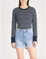 The White Company Button shoulder striped knitted jumper