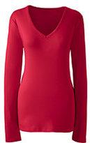 Lands' End Women's Shaped Cotton V-neck T-shirt-Meadowland Green