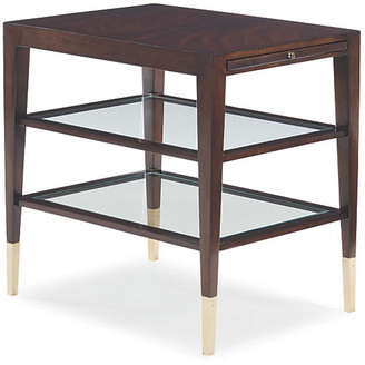 Caracole Side Show Side Table - Espresso frame, espresso; glass, clear; ferrules, gold bullion