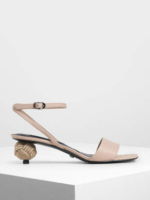 Charles & Keith Spherical Heel Leather Sandals