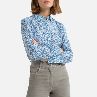 Benetton Floral Print Cotton Shirt with Button Fastening