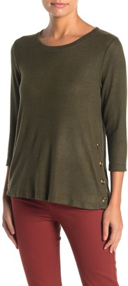 Bobeau Fleece Side Button Pullover Sweater (Regular & Petite)