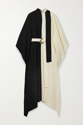 Taller Marmo El Sol Belted Two-tone Crepe Kaftan - Black