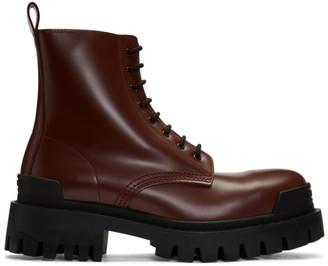 Balenciaga Burgundy Strike Boots