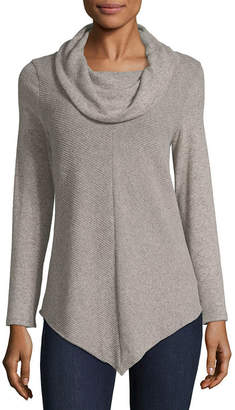 BY AND BY by&by-Juniors Womens Cowl Neck Long Sleeve Pullover Sweater