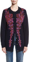 Co Floral-Beaded Wool-Cashmere Cardigan
