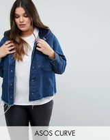 Asos Denim Hooded Jacket With Raw Edges