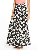 Very Floral Print Wrap Maxi Skirt