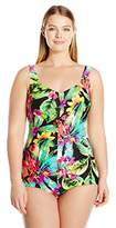Maxine Of Hollywood Women's Summer Bounty Shirred Girl Leg One Piece Swimsuit