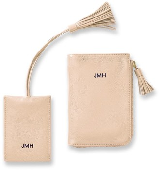 Mark And Graham Leather Tassel Passport Wallet & Luggage Tag Set