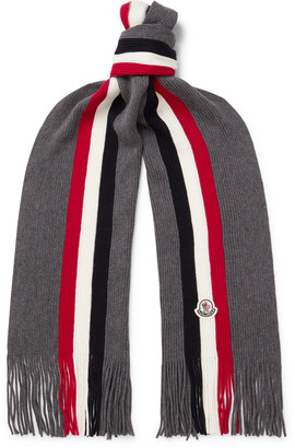 Moncler Fringed Logo-Appliqued Striped Ribbed Virgin Wool Scarf
