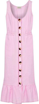 Nicholas Ruffle-trimmed Button-detailed Linen Midi Dress