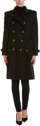 Givenchy Belted Silk-Lined Wool Trench Coat