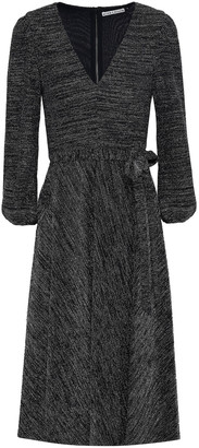 Alice + Olivia Belted Metallic Stretch-knit Dress