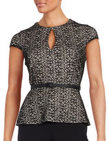 Alex Evenings Belted Lace Peplum Top
