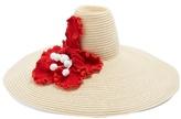 Rosie Assoulin Flower-crochet oversized hemp-straw hat